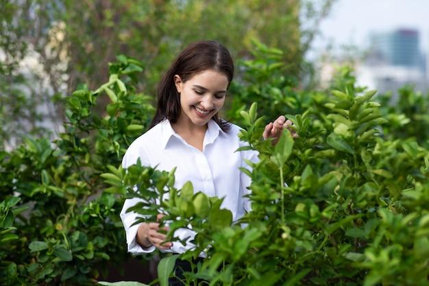 De uma jardineira trabalhando na horta no telhado de um edifício moderno