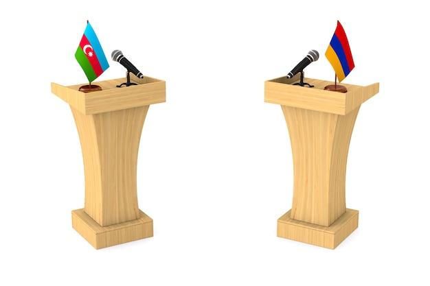 Debate entre a república do azerbaijão e a armênia em fundo branco. ilustração 3d isolada