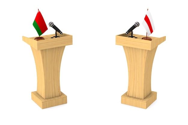 Debate na república da bielorrússia sobre fundo branco. ilustração 3d isolada