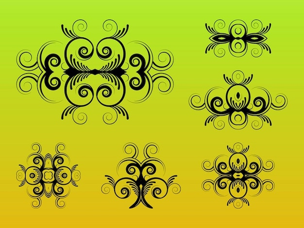 Decalques decorativos swirly gráficos vetoriais pacote