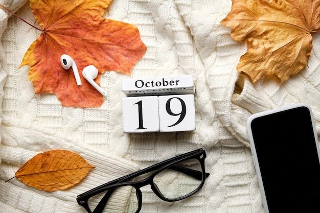 Décimo nono dia do outono mês calendário outubro.