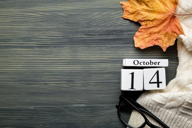 Décimo quarto dia do outono mês calendário outubro com espaço de cópia.