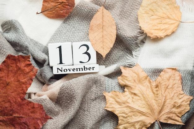 Décimo terceiro dia do calendário do mês de outono de novembro.