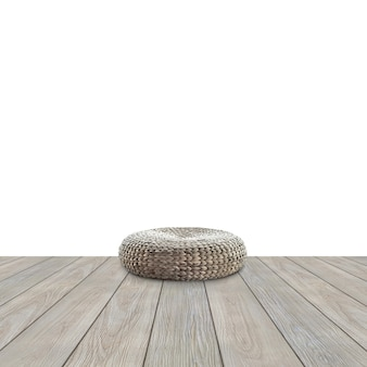 Deck de madeira durante o dia com disposição de assentos