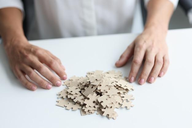Decomposição de quebra-cabeças e passatempo feminino que acalma os nervos.