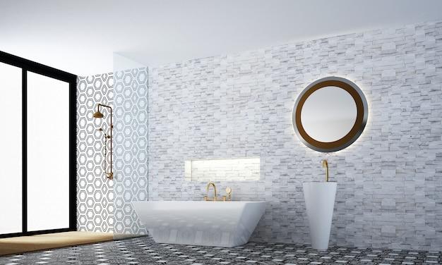 Decoração aconchegante de móveis e interiores de banheiro e fundo de padrão de parede de azulejo branco