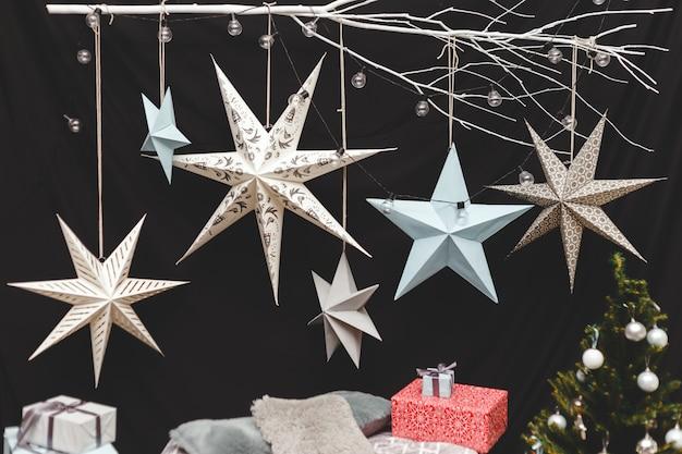 Decoração azul e de prata da estrela do natal