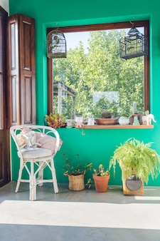 Decoração bonita do quarto com um canto com plantas