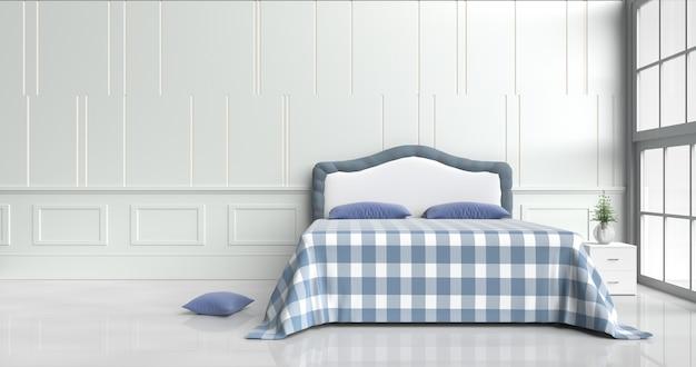 Decoração branca da sala da cama com cama, luz - os descansos azuis, cobrem a cobertura azul, 3d rendem.