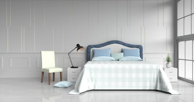 Decoração branca da sala da cama com descansos, luz da tabela - o cobertor azul, cadeira, janela, 3d rende.