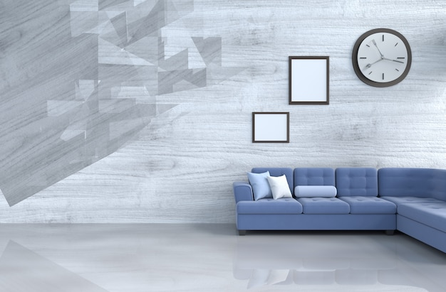 Decoração cinza-branco sala de estar com sofá azul, relógio de parede, parede de madeira, porta-retrato.