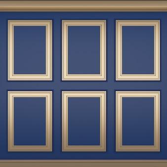 Decoração clássica de parede azul, renderização em 3d