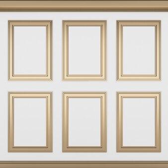 Decoração clássica de parede branca, renderização em 3d