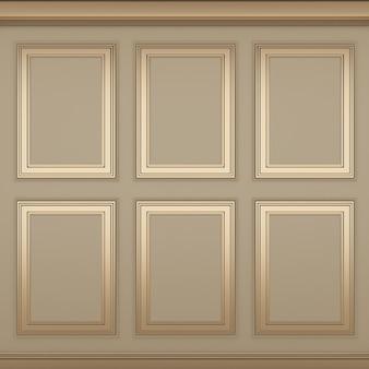 Decoração clássica de parede creme, renderização em 3d
