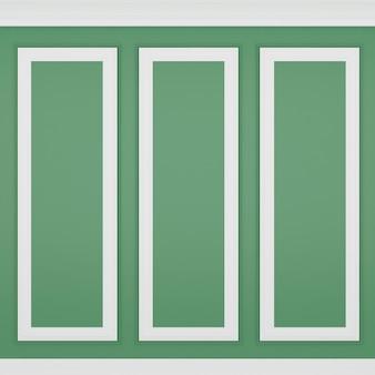 Decoração clássica de parede verde, renderização 3d