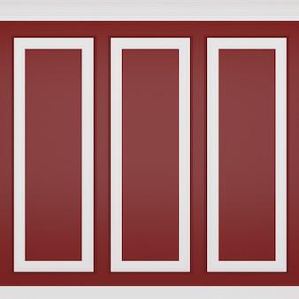 Decoração clássica de parede vermelha, renderização em 3d