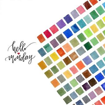 Decoração colorida em aquarela. olá segunda-feira caligrafia.