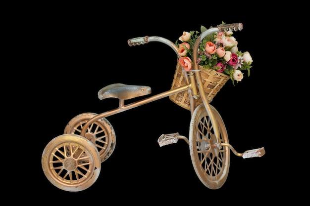Decoração com flores bicicleta com flores bicicleta vintage dourada com cesto