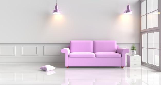 Decoração da sala branca com sofá roxo, lâmpada violeta, descanso, janela, lâmpada roxa. 3d rendem.