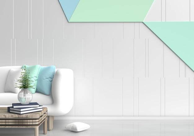 Decoração da sala de pastel com sofá branco, árvore em vidro, travesseiros verde-azul, parede de cimento pastel.