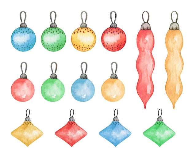 Decoração de abeto de natal, brinquedos coloridos, ilustração em aquarela, decoração para impressão de ano novo
