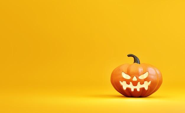 Decoração de abóbora de halloween em amarelo