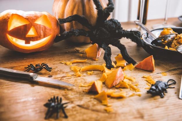 Decoração de abóboras de halloween