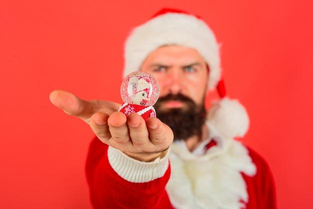 Decoração de ano novo papai noel com globo de neve de natal globo de neve de natal na mão brinquedo de natal na mão