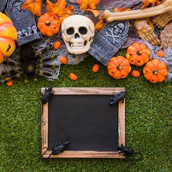 Decoração de ardósia de halloween com ratos