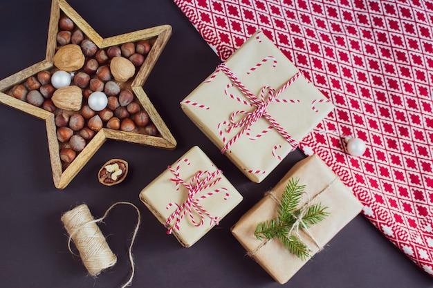 Decoração de caixa de presente de natal
