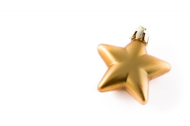 Decoração de estrela de natal ouro isolada no branco.