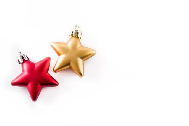 Decoração de estrela de natal vermelha e dourada isolada