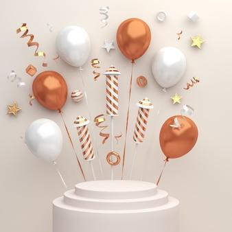 Decoração de exibição de pódio de feliz ano novo com confetes de balões de fogos de artifício