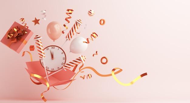 Decoração de feliz ano novo com caixa de presente aberta, relógio de balões foguete de fogos de artifício
