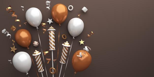 Decoração de feliz ano novo com confetes de balões de fogos de artifício