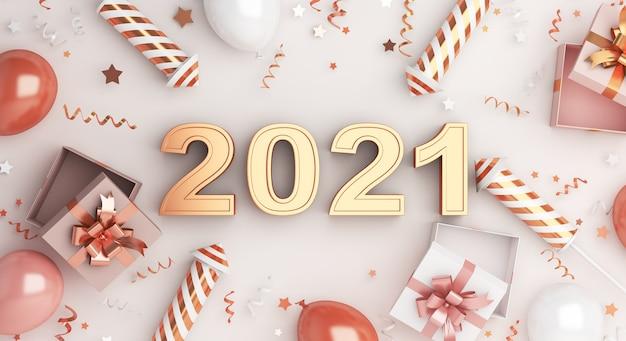 Decoração de feliz ano novo com foguete de fogos de artifício, balões, caixa de presente