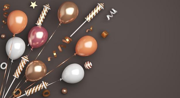 Decoração de feliz ano novo com foguetes de fogos de artifício, balões