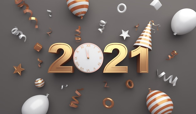 Decoração de feliz ano novo de 2021 com foguete de fogos de artifício, balões, relógio