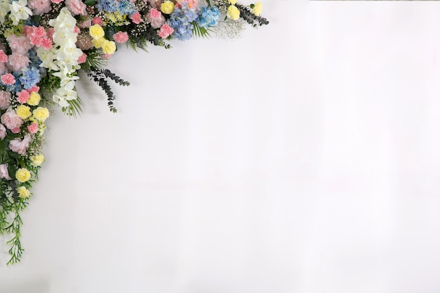 Decoração de flores em pano de fundo de casamento, fundo de flores