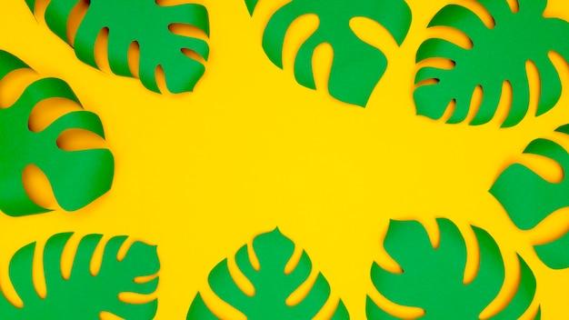 Decoração de folhas de papel verde