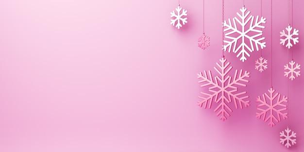 Decoração de fundo de inverno com espaço de cópia de flocos de neve rosa, renderização em 3d