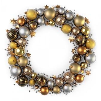 Decoração de grinalda de natal de bolhas de cor de ouro