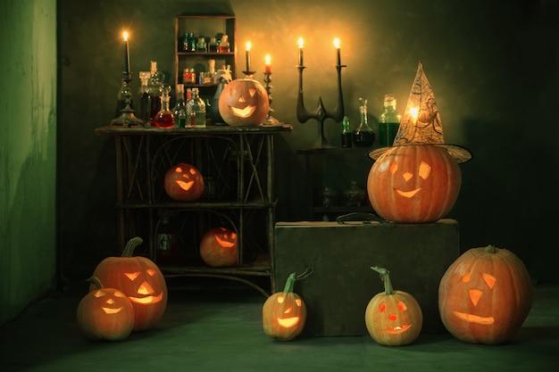 Decoração de halloween com abóboras e poções mágicas internas