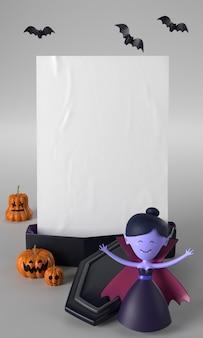 Decoração de halloween com caixão e vampiro