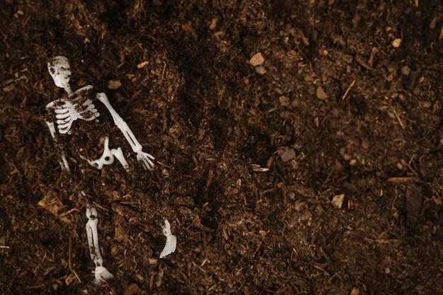Decoração de halloween com esqueleto enterrado