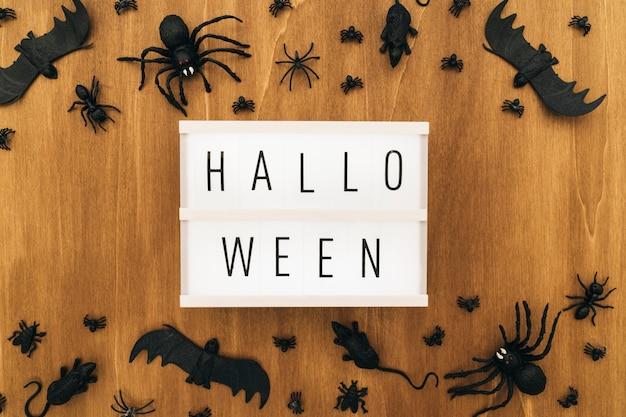 Decoração de halloween com sinal e insetos