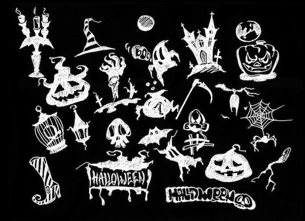 Decoração de halloween e conceito de plano de fundo. coleção desenhada à mão