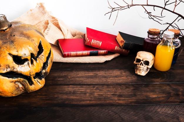 Decoração de halloween na mesa