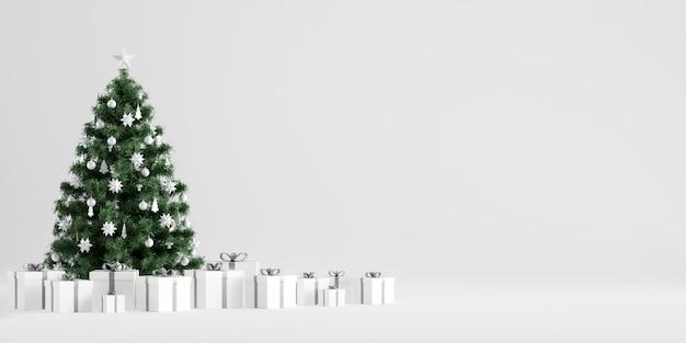 Decoração de inverno de árvore de natal com caixas de presente em fundo branco