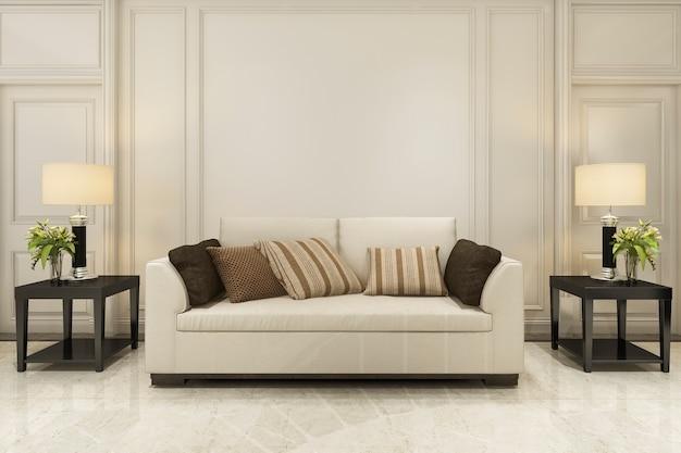 Decoração de madeira na sala de estar com sofá estilo clássico